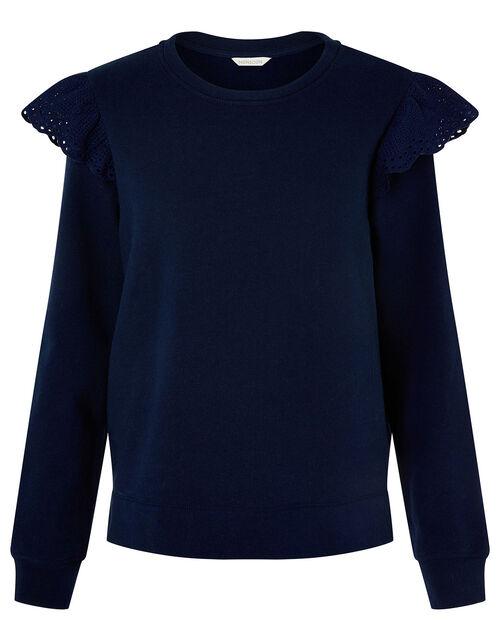 LOUNGE Barbara Broderie Shoulder Jumper, Blue (NAVY), large