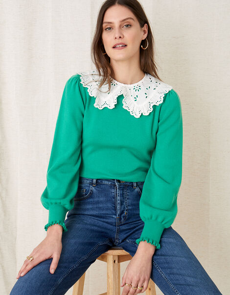 Broderie Collar in Organic Cotton , , large