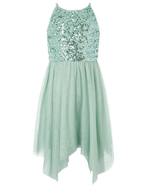 Truth Sequin Sparkle Hanky Hem Dress, Green (GREEN), large