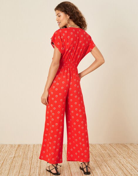 Embroidered Trim Printed Jumpsuit Red, Red (RED), large