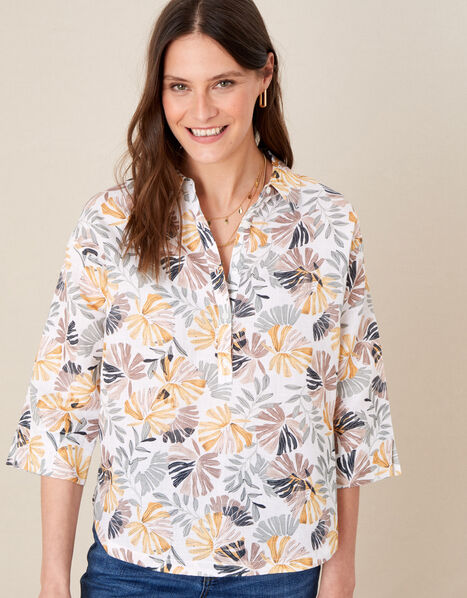 Palm Print Shirt in Linen Blend Natural, Natural (STONE), large