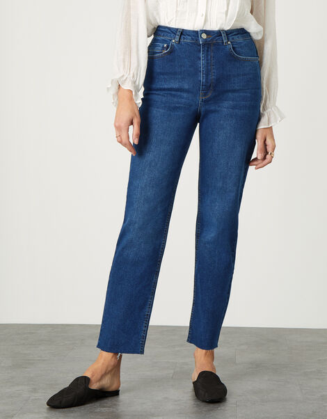 Mom Jeans with Recycled Cotton Blue, Blue (DENIM BLUE), large