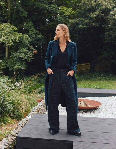 Charlie Check Belted Trousers Blue, Blue (NAVY), large