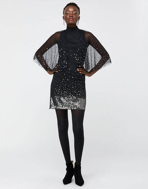 Kimberley Sequin Cape Dress, Black, large