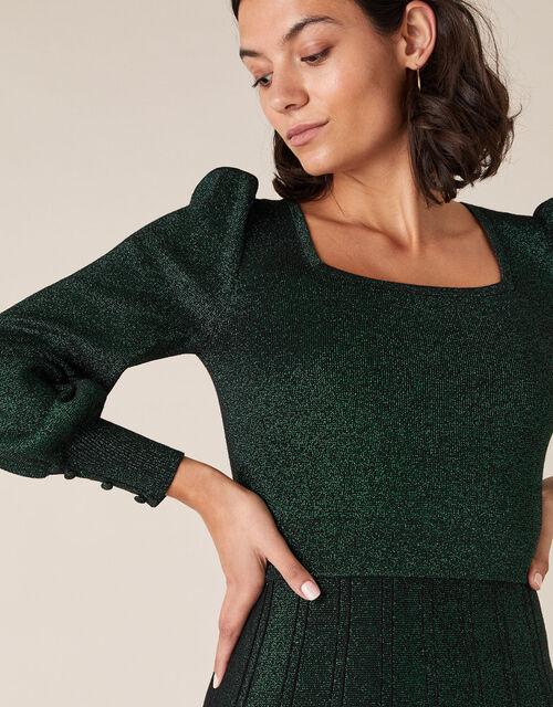 Square Neck Metallic Knit Dress, Green (GREEN), large