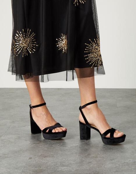 Velvet Platform Heeled Sandals Black, Black (BLACK), large