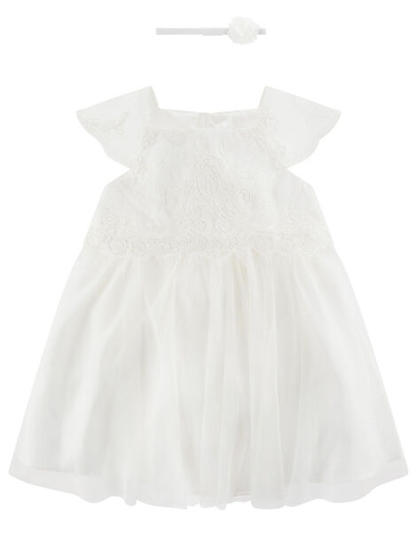 Newborn Baby Lace Dress Ivory, Ivory (IVORY), large