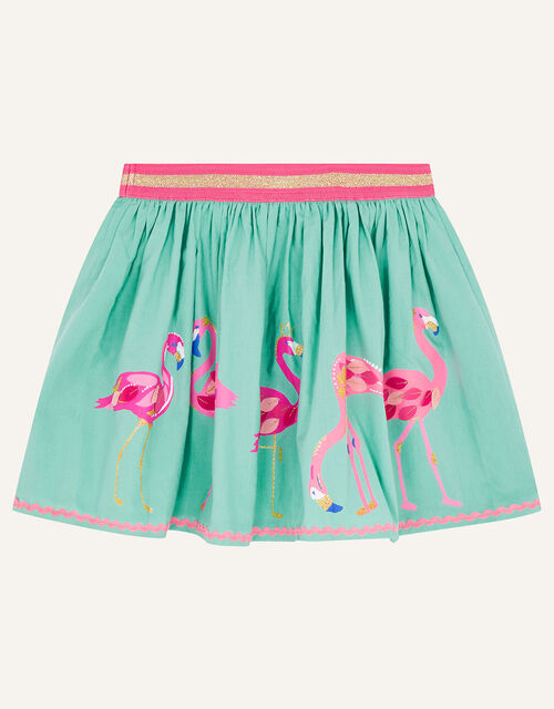 Flamingo Skirt in Pure Cotton, Green (GREEN), large