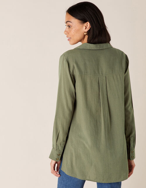 V-Neck Shirt, Green (KHAKI), large