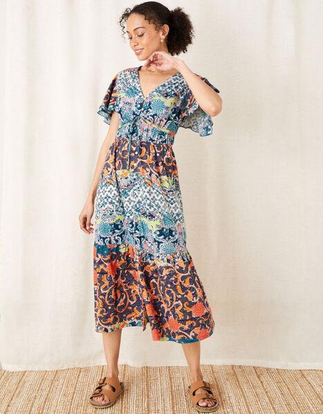 Sufja Printed Jersey Tea Dress  Blue, Blue (NAVY), large