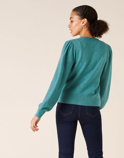 Blouson Sleeve Cardigan with Recycled Fabric, Green (GREEN), large