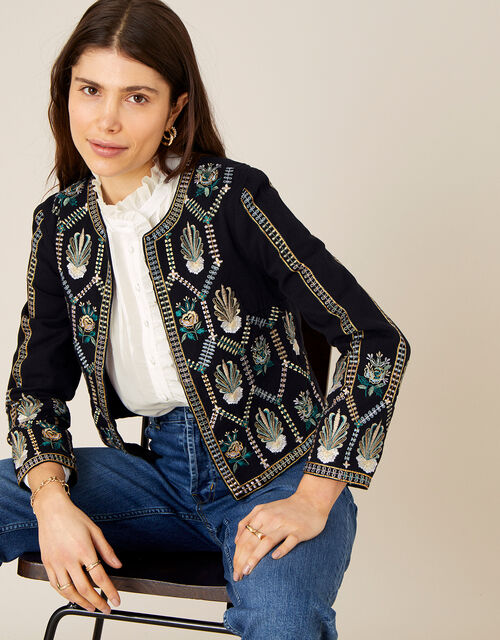 Embroidered Cropped Jacket with Organic Cotton , Black (BLACK), large