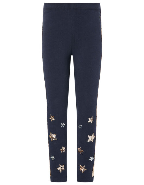 Sequin Star Leggings with Organic Cotton, Blue (NAVY), large