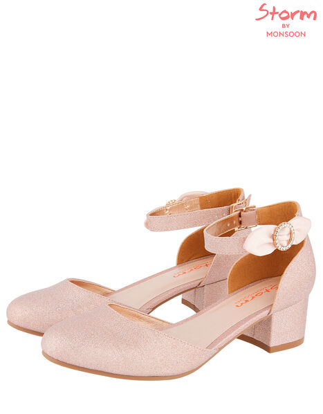 Bow Shimmer Two-Part Heeled Shoes Pink, Pink (PINK), large