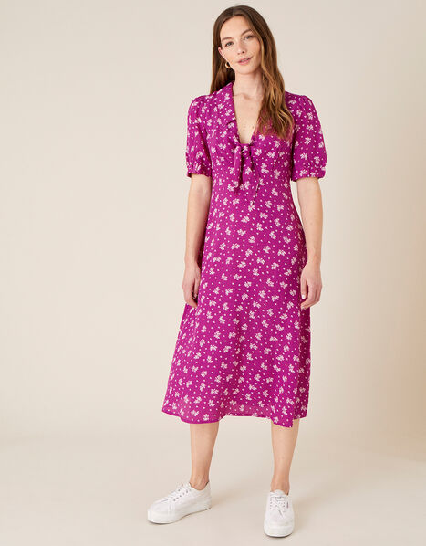 Abril Printed Tie Detail Dress  Pink, Pink (PINK), large