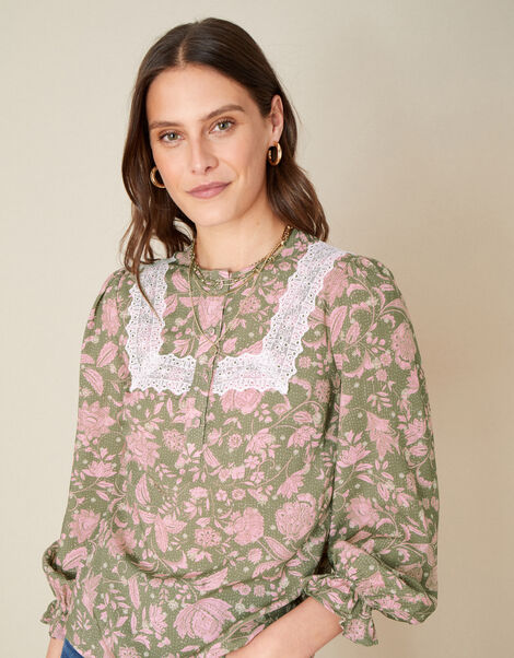 Linie Lace Floral Print Blouse Green, Green (KHAKI), large