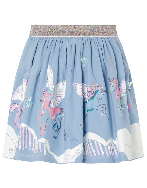Sequin Cloud Unicorn Skirt, Blue (BLUE), large