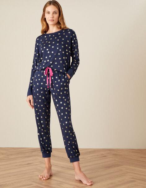 Foil Star Print Pyjama Set Blue, Blue (NAVY), large