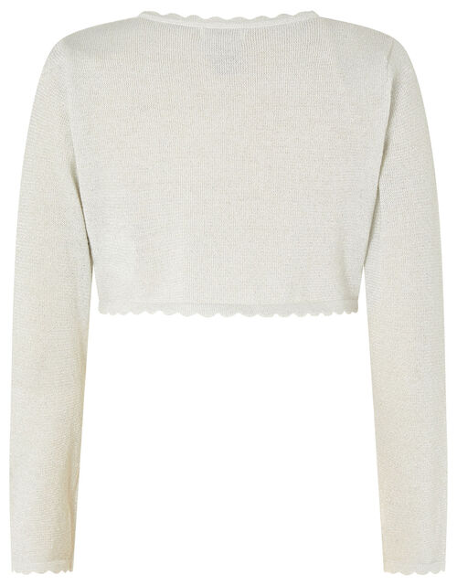 Niamh Shimmer Cropped Cardigan, Silver (SILVER), large