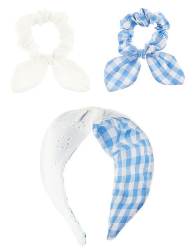Reversible Gingham and Broderie Hair Set, , large