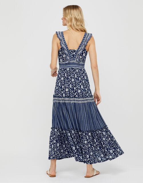 Farrah Printed Jersey Dress in LENZING™ ECOVERO™, Blue (NAVY), large
