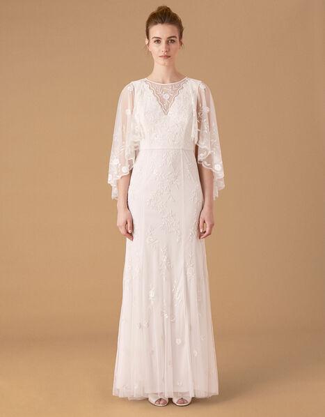 Zoey Floral Cape Bridal Dress Ivory, Ivory (IVORY), large