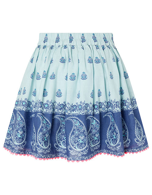 Dannika Paisley Skirt in Linen and Organic Cotton, Blue (BLUE), large