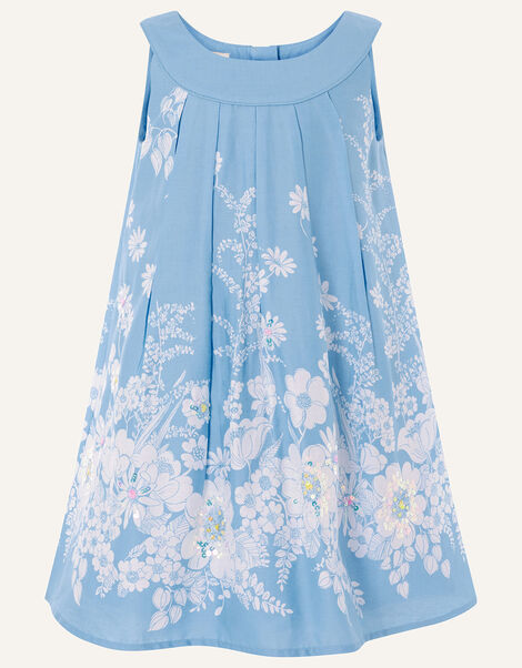 Floral Embellished Swing Dress Blue, Blue (BLUE), large