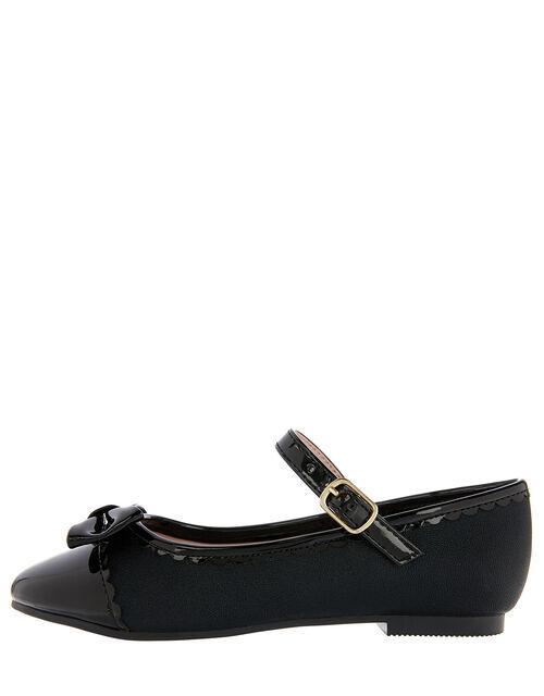 Delilah Scallop Toe Bow Ballerina Flats, Black (BLACK), large