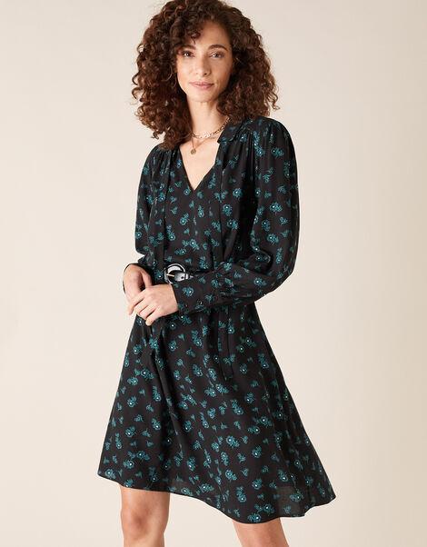 Ditsy Floral Knee-Length Dress Black, Black (BLACK), large