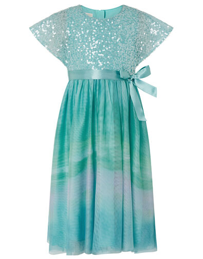Mermaid Sequin Ombre Maxi Dress Blue, Blue (BLUE), large