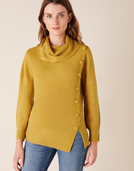 Button Side Knit Jumper Yellow, Yellow (OCHRE), large