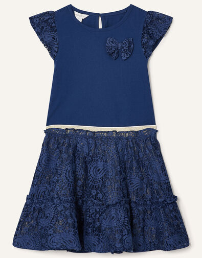 Lace Top and Skirt Set Blue, Blue (NAVY), large