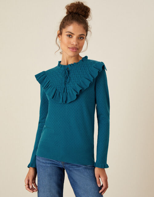 Ronnie Ruffle Lace-Up Jumper, Teal (TEAL), large