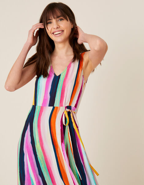 Isla Stripe Maxi Dress in Sustainable Viscose  Pink, Pink (PINK), large