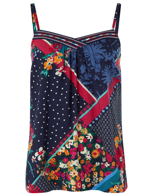 Grace Contrast Floral Print Cami in LENZING™ ECOVERO™, Blue (NAVY), large