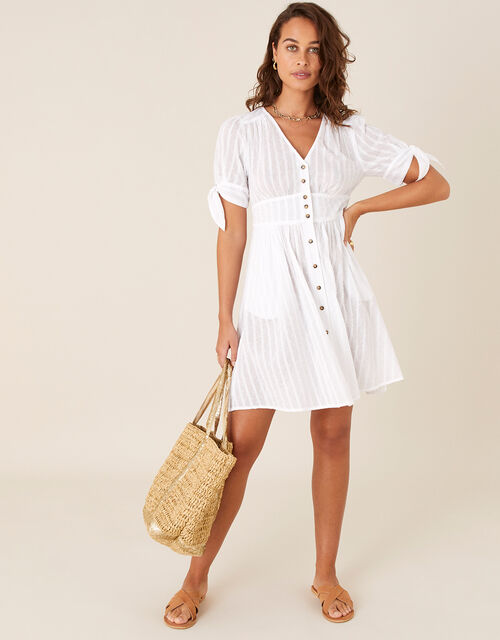 Button-Through Dress in Pure Cotton, Ivory (IVORY), large