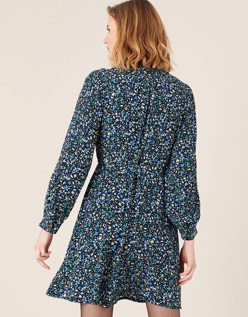 Floral Belted Short Dress, Black (BLACK), large