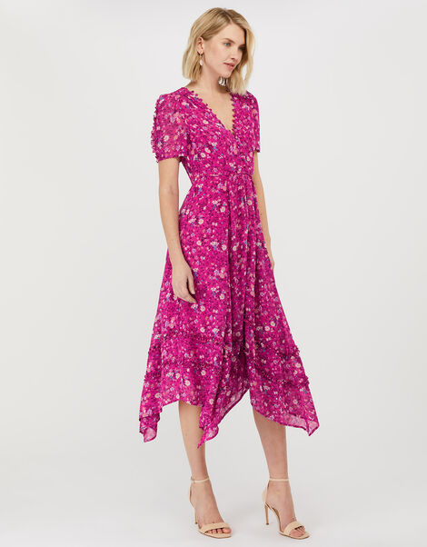 Rebecca Floral Chiffon Dress Pink, Pink (SOFT PINK), large
