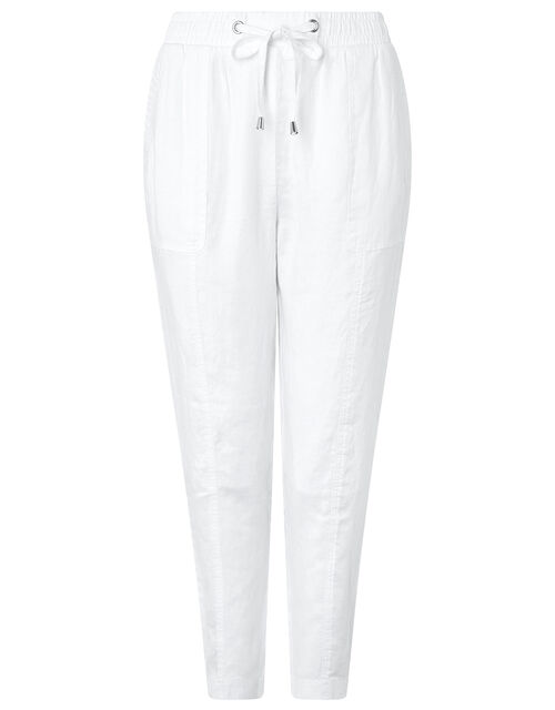 Lightweight Joggers in Pure Linen, White (WHITE), large