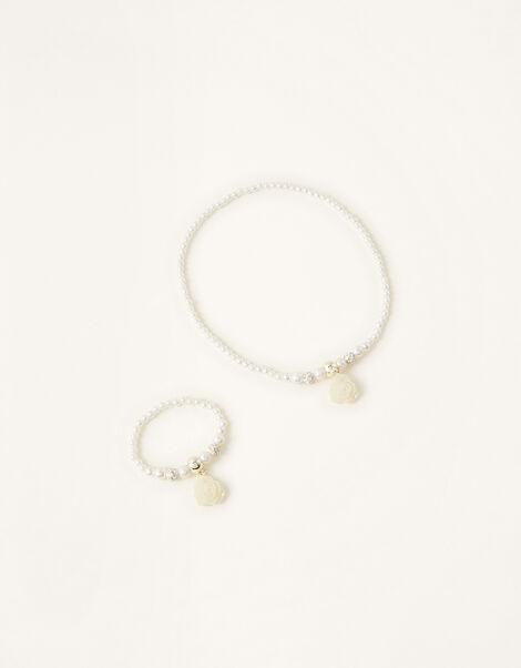 Rose Pearl Necklace and Bracelet Set , , large