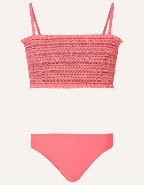 Stitchy Shirred Bikini Set Orange, Orange (CORAL), large