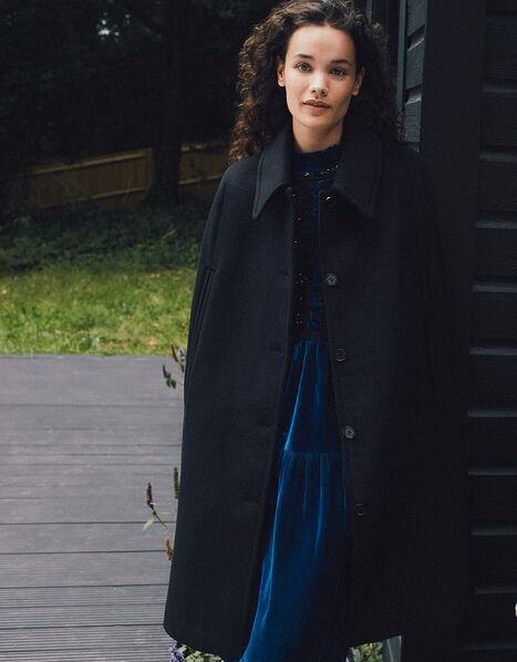 Caroline Sleeveless Coat Black, Black (BLACK), large