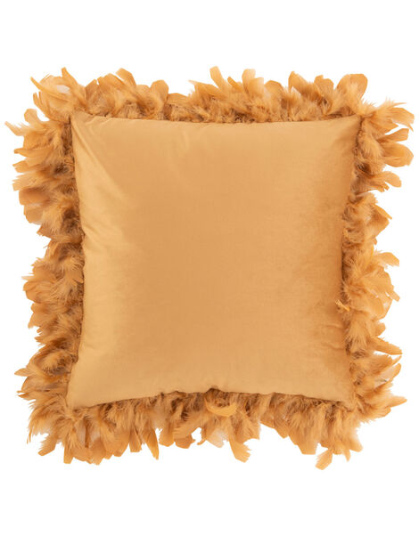 Feather Trim Square Cushion Yellow, Yellow (OCHRE), large