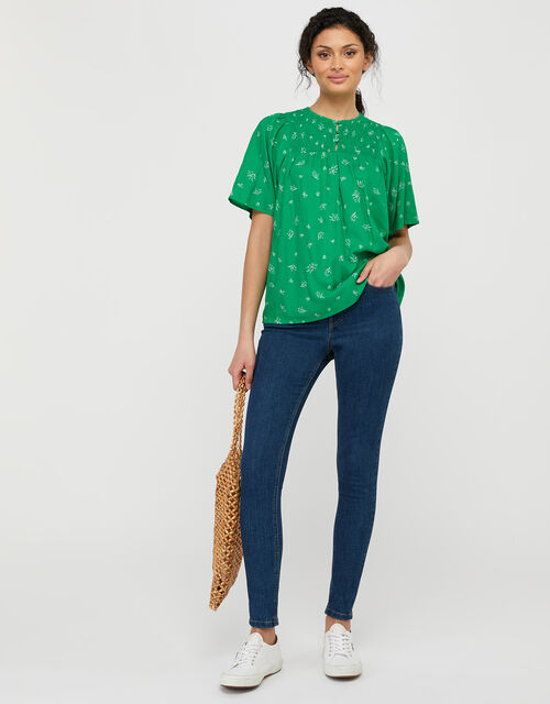 Val Ditsy Floral Short-Sleeve Blouse in LENZING™ ECOVERO™, Green (GREEN), large