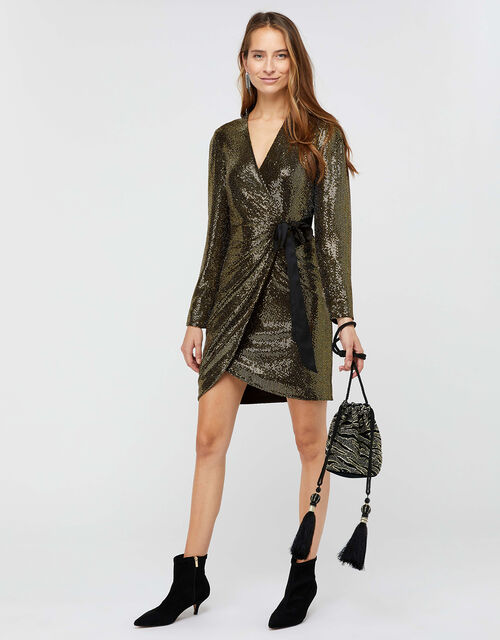 Trinity Sequin Tux Dress, Gold, large