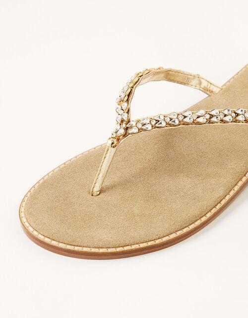 Embellished Leather Flip Flops, Gold (GOLD), large