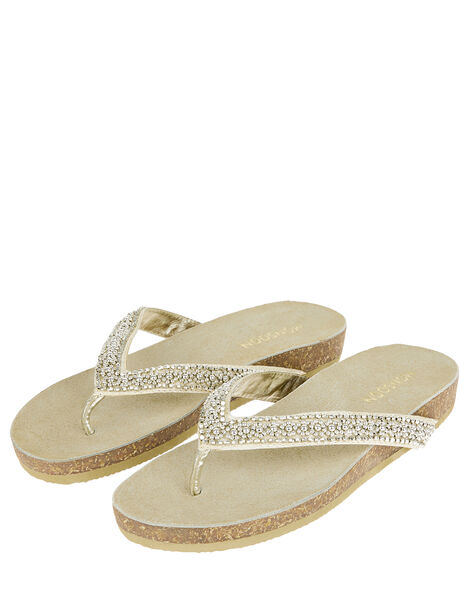 Embellished Toe-Post Flatform Sandals Gold, Gold (GOLD), large