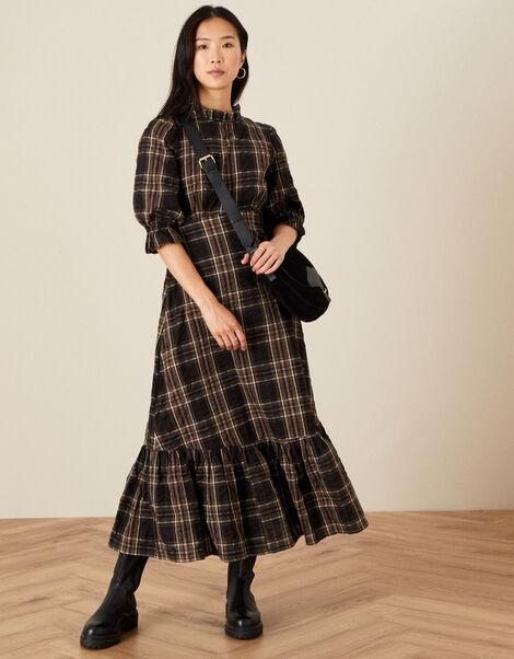 Dayana Check Tiered Hem Dress Black, Black (BLACK), large