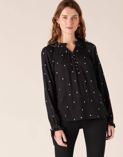 Heart Embroidery Top, Black (BLACK), large